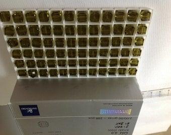 8mm Genuine Swarovski Khaki Crystal Art. 5601 Cube Beads (6 pieces)