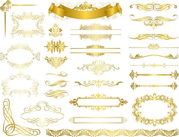 Instant Download Digital Gold Flourish Swirl Frame Border Clip