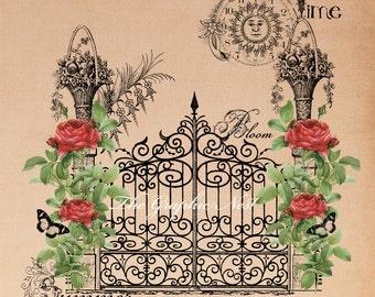 Summer garden collage digital file