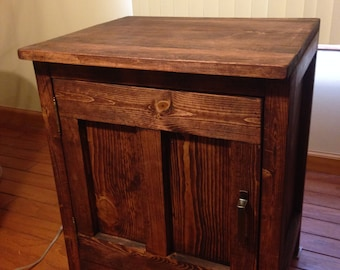 Solid Pine end table, hinged cabinet door
