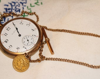 Very fine Elgin 15 Jewel S-14 with Gold Chain and 2 1/2 Dollar 1906 Gold Coin