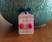 Rolled Fabric Rosie Posie earrings Bridesmaid Gift - Bright pink