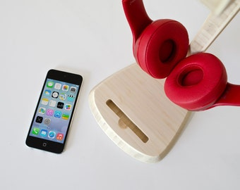 Sound Station | Headphone Stand + Phone Dock - Beats by Dre Headset iPhone Docking Station - Gift for Him / Her - Super Fast Shipping