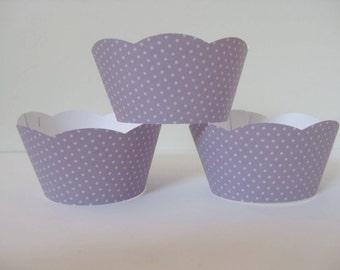 12 Lavendar Polka Dot Cupcake Wrappers, Baby Showe Cupcake Wrappers, Birthday Cupcake Wrappers