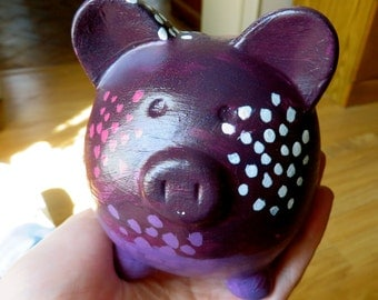 Refurbished Piggy Bank- hand painted