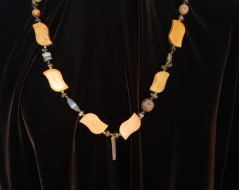 Beaded, wood, necklace