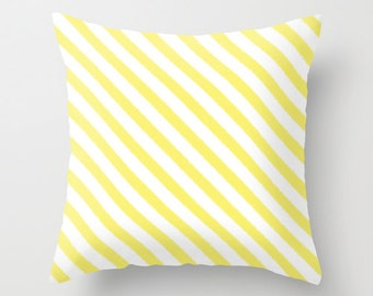 Yellow Striped Pillow, Ikat Pillow Covers, Velvet Cushion Cover, Yellow Pillow, Ikat Cushion, Girls Room Decor, Tween Girls, Teen Bedroom