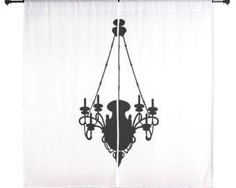 Chiffon Curtains - Black Chandelier - Sheer Curtains - White Curtains - Dorm Room Curtains - Black and White Curtains - Glam Decor