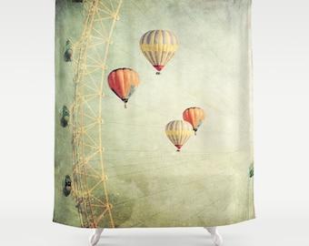 shower curtain, bathroom decor, modern shower curtain, photo curtain, hot air balloons, balloons curtain, whimsical decor