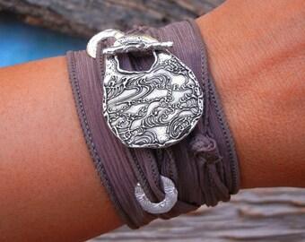 Nautical Jewelry, Nautical Fashion, Nautical Bracelet, Ocean Waves Jewelry Silk Wrap Bracelet Nautical Fashion