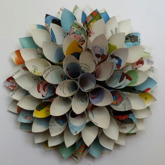 Children's Book Wreath - Paper Cone Wreath - Vintage Paper Dahlia
