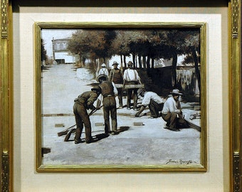Frederick Remington Painting Laborers Laying Cobblestone for Entranceway to Home in Black & White Oils