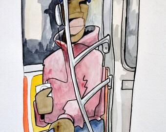 Subway Rider  Watercolor Painting