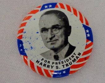 President Truman campaign button - Vintage 1970s reprint