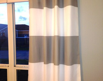 Premier Custom Horizontal Wide Striped Curtain Panels
