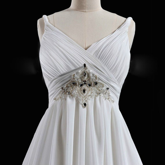 Chiffon and Satin V-Neck Sweep Train A-Line Wedding Dress with Beading and Crystal
