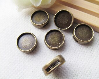 Antique silver tone/Antique Bronze Round Bracelet and Necklace Slider Beads,Base Setting Tray Bezel,For 12mm Cabochon/Picture/Cameo