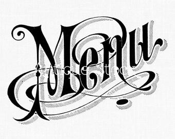 Menu Word Text Old Image - Menu Text Digital Collage Sheet - Vintage Logo Illustration