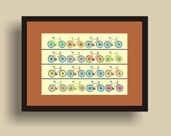 Bikes -  Pop Art Original Print  by C Wiedenheft comes with a white mat and ready to frame.