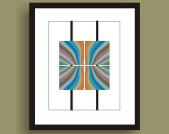 Fluid  -  Mid Century Modern Art Original Print  by C Wiedenheft comes with a white mat and ready to frame.