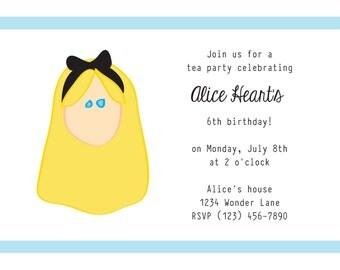 Alice in Wonderland Party Invitation:  printable