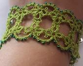 Priscilla Beaded Tatted Bracelet- Spring Green