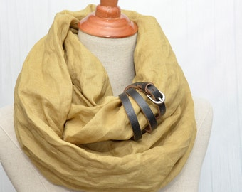 Linen Infinity Scarf, Chunky Scarf, Natural Linen, Mustard, Black leather cuff, Linen scarf