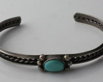 """Vintage Hopi Sterling Silver Twisted Rope Small Turquoise Smooth Cuff (5"""") Bracelet NA0741"""