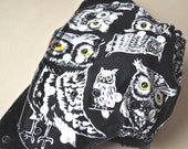 Fitted Cloth Diaper, One Size, Owls, CV/Hemp Snap in insert. Serged with Super Soft Wooly Nylon for baby's comfort. *Read Description*