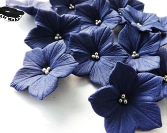Plush Purple Petunia Sugar Flowers With Silver Balls Edible Cake Cupcake Toppers 20