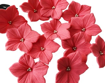 Hot Pink Petunia Sugar Flowers Set With Silver Balls Edible Cake Cupcake Toppers 20