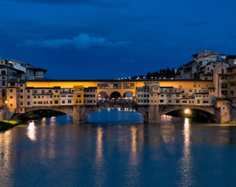 Ponte Vecchio Bridge Florence Italy fine art photograph, Arno River at Night Blue and Gold, Florence at Night - The Magic of Ponte Vecchio