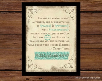 """Framed Bible Verse Philippians 4:6-7 """"Do not be anxious about anything, but in everything by prayer petition & with thanksgiving..."""""""