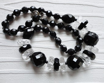 Vintage Art Deco Crystal Necklace…Black and Clear Crystal Bead Necklace…French Art Deco Crystal Necklace...Crystal Necklace
