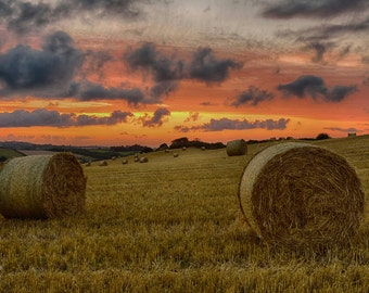Sunset with Hay Bales - Sunset - Landscape - beautiful colours - clouds - orange