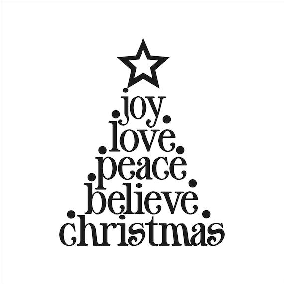 Christmas Tree Quotes: Items Similar To Joy Love Peace Believe Christmas Tree