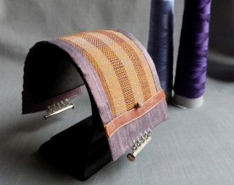 Unique woven silk and copper bracelet