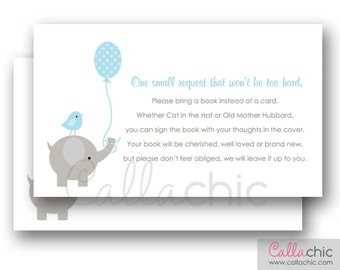Baby Shower Book Request PRINTABLE Invitation Insert (Elephant with Balloon and Bird in Blue and Gray - Elegant) 3x5 - Instant Download
