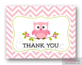 Owl Thank You Notes PRINTABLE - Baby Shower / 1st Birthday Boy Thank You Card (INSTANT DOWNLOAD) - Blue Chevron
