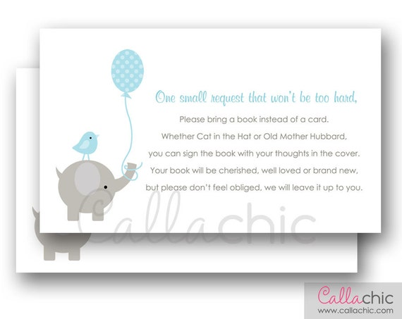 baby shower book request printable invitation insert elephant