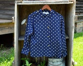 Navy polka dot shirt with gold buttons
