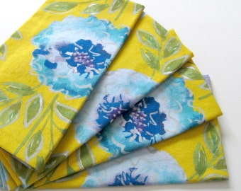 Cloth Napkins - Sets of 4 - Blue Flowers on Yellow - Large Dinner Napkins