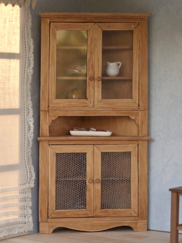 Alacena esquinera de madera en miniatura para casas de mu ecas - Alacena de madera ...