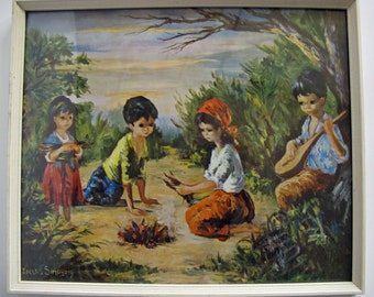 Dallas Simpson 'Camp Fire' framed print. 'Big Eyed' children build a campfire.