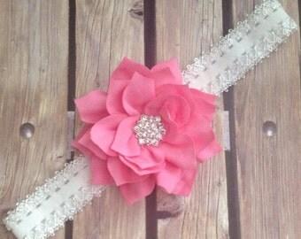 Pink headband, pink and white headband, flower girl headband, baby bow, infant headband, baby girl headband, headband,