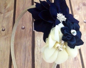 Navy and ivory headband, navy headband, ivory headband, flower girl headband, flower girl, floral headband,