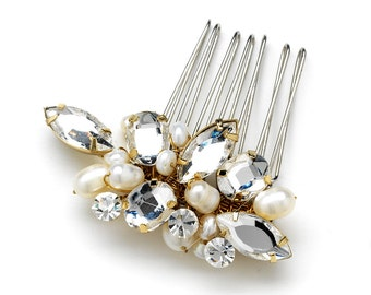 Petite Side Hair Comb with Freshwater Pearls & Multi Shaped Rhinestones