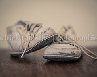 Childhood Memories Baby Shoes Photo Fine Art Photography Nostalgic Children Shoes Romantic Vintage Nursery Decor Beige Brown Off-White Print