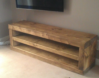 Chunky solid wood tv unit handmade. CAVEMAN FURNITURE