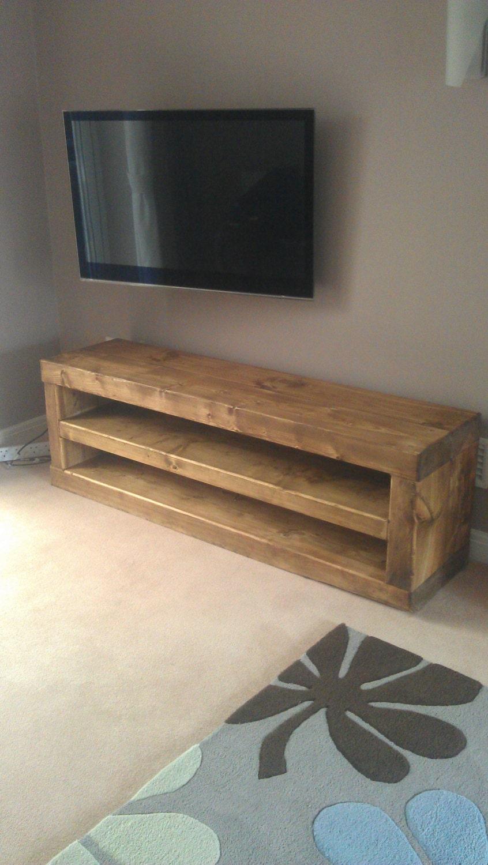 Chunky Solid Wood Tv Unit Handmade Caveman Furniture